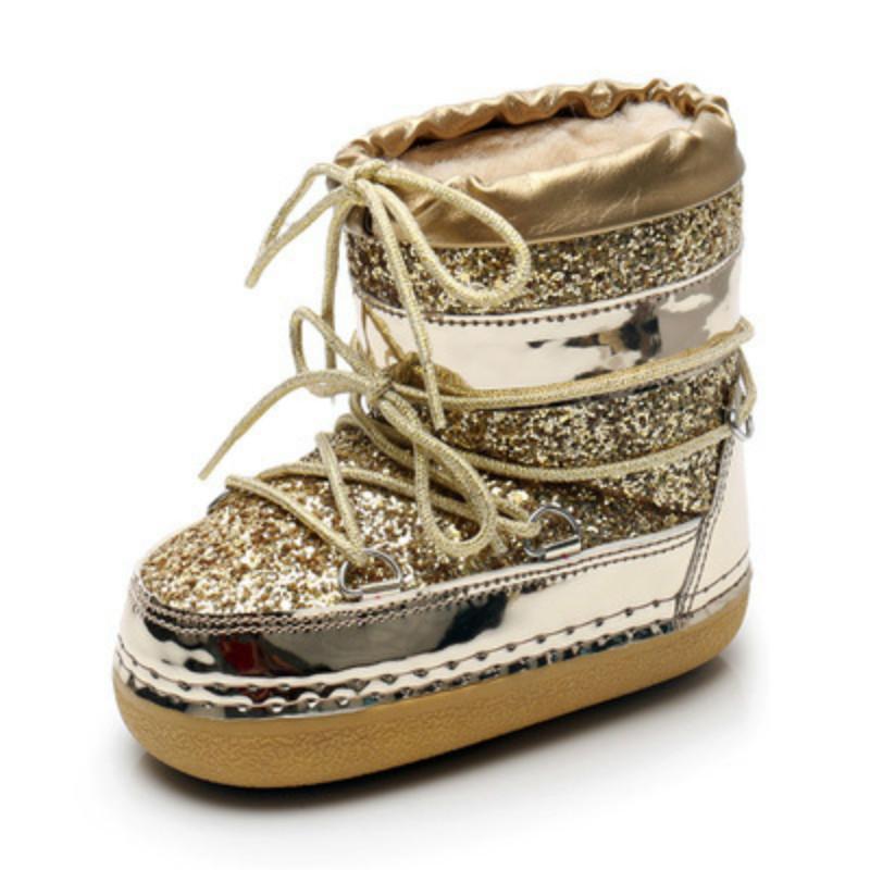 SWONCO Bling Paillette-Schnee-Aufladungen Frauen Velvet Pelz-warme Mond-Schuh-Plattform 2019 neue weibliche Luxus Stiefeletten Raum Stiefel Shoes201103