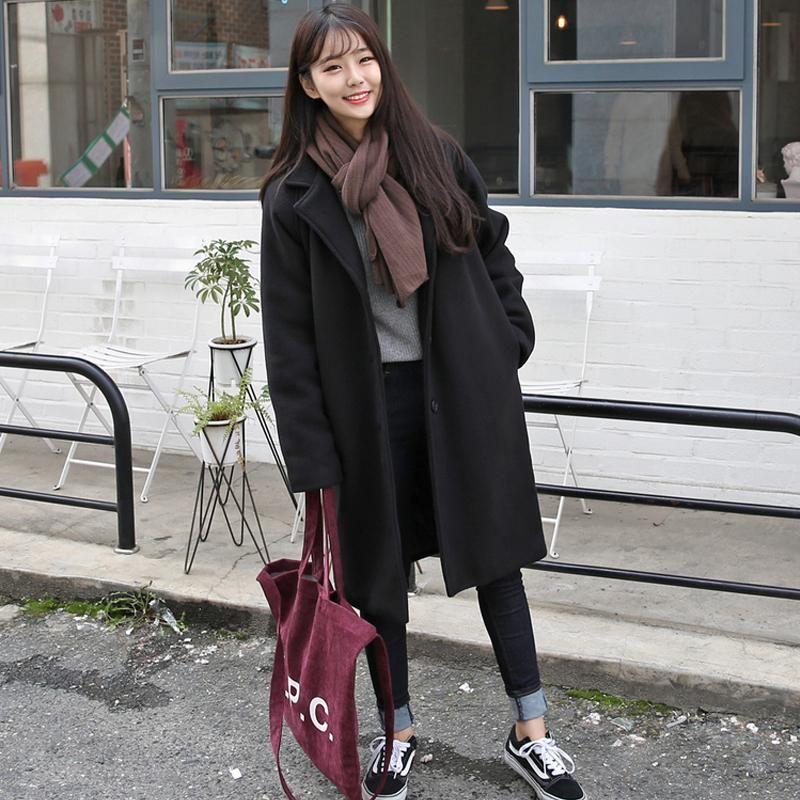Женские пальто Новой Повседневная корейская версия самосовершенствования в длинном пальто Моды женщины Большого размера однобортного