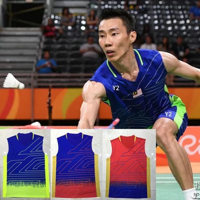 Homens Badminton Vest Badminton Wear Sports camisa sem mangas Sportswear Verão de secagem rápida ventilação Vest Cor 3