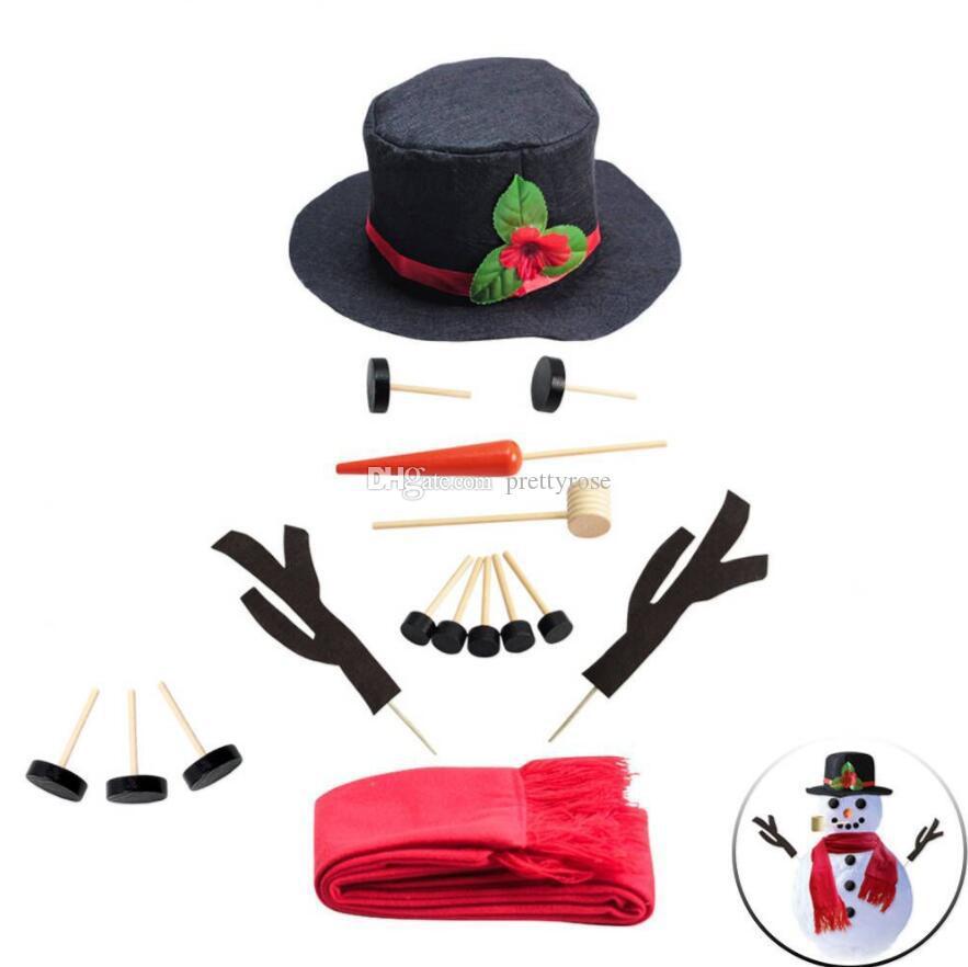 16 PCS / SET Fiesta de invierno Juguetes para niños DIY Muñeco de nieve Making Decorar Kit de vestir Navidad Decoración de vacaciones Regalo Hacer una herramientas de muñeco de nieve