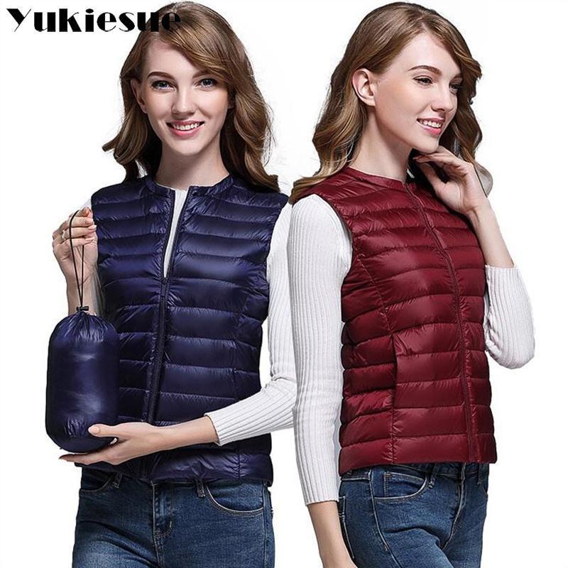 parka kadınlar aşağı ceket palto aşağı 2020 kış kadın ceket% 90 reel beyaz ördek ışık kolsuz yelek paltoları ısınmak