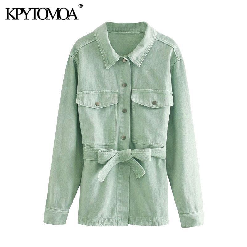 Moda KPYTOMOA Mulheres com cinto Pockets soltas Denim Jacket Brasão Vintage Long Sleeve Side Vents Feminino Casacos Chic Tops 201012