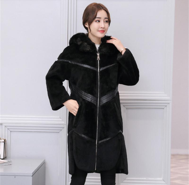 2021 Nuevo cálido abrigo de invierno Cuello Fox Fox Fox con capucha Abrigos de piel gruesos Chaquetas de mujer bajo MUJER WXF540 73dB