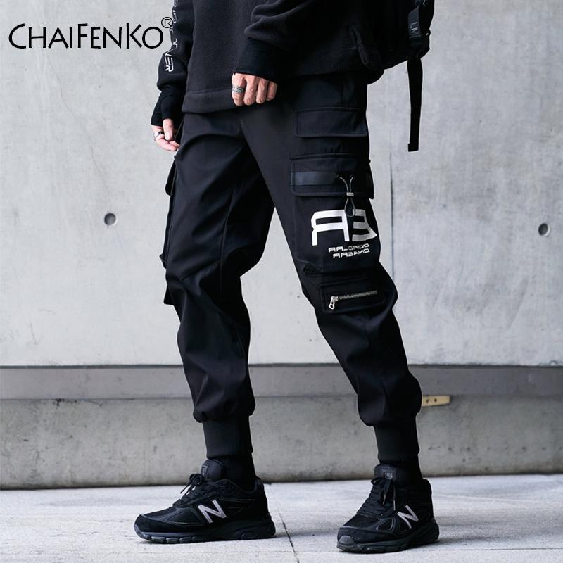 CHAIFENKO الهيب هوب البضائع السراويل أزياء الرجال المتناثرة الحريم بانت الأسود الشارع الشهير ركض بنطال رياضة متعدد جيب سروال رجالي