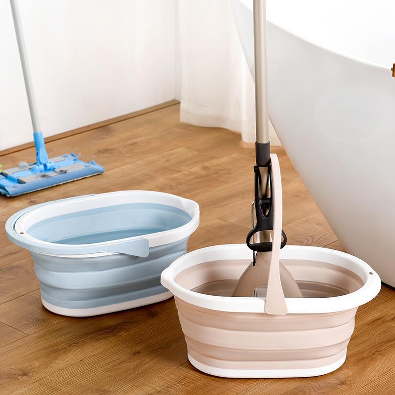 Seau pliable portable pour vadrouille de nettoyage de puits de poche de nettoyage de pochette de nettoyage de pochette de nettoyage à domicile Outils de nettoyage de salle de bain Panier de stockage LJ201128