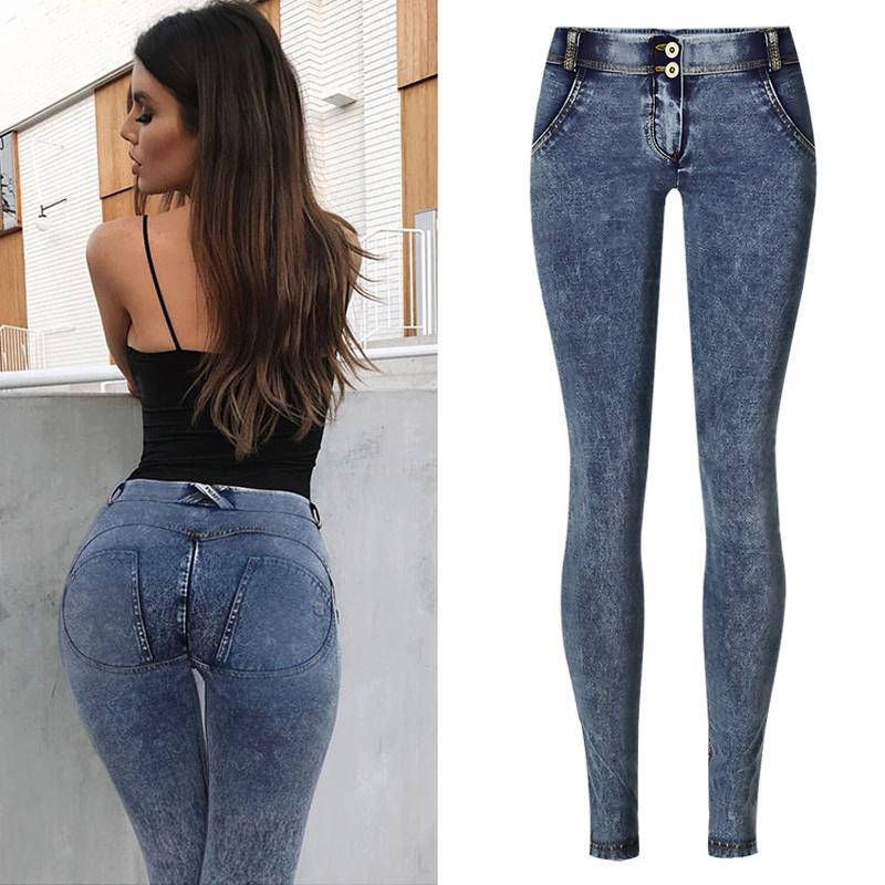 Tirare jeans scarni delle donne casuali di Strech pantaloni della matita spinge verso l'alto le ghette Peach Butt Lift Hip vita bassa Jeggings Plus Size XS