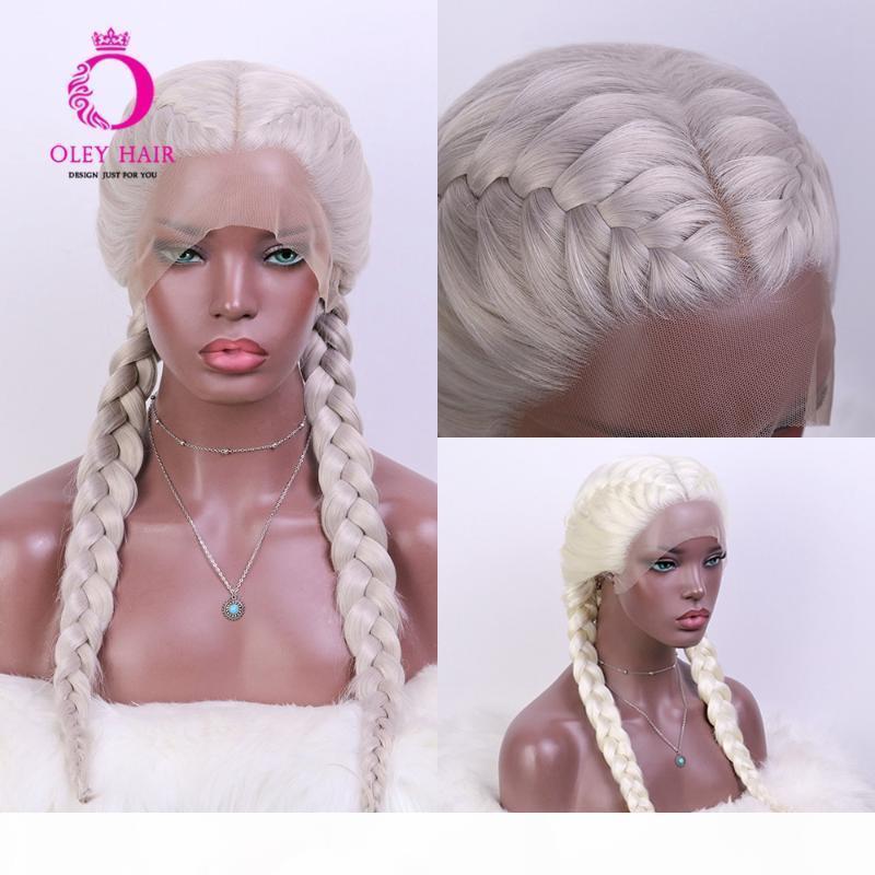 Oley New Comening Platinum Blonde WIG Despliegue Sin Gluetic Sintético Peluca delantera Resistente al calor Gris Cosplay Caja Braid Pelucas para mujeres negras
