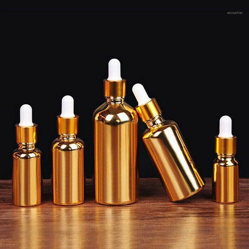 Depolama Şişeleri Kavanoz Boş Damlalık Şişesi Parfüm Uçucu Yağlar Için Sıvı Deodorantı Makyaj Kapları Doldurulabilir Altın Renk Kaplama1