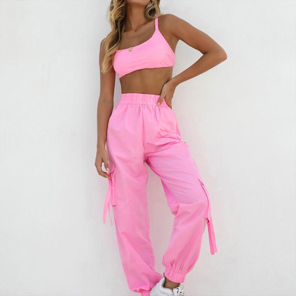 JAYCOSIN 2019 New Verão Mulheres Suit Sexy Moda rosa Outfits Set Sports Top Curto Calças feixe completa de jogging Treino 904253