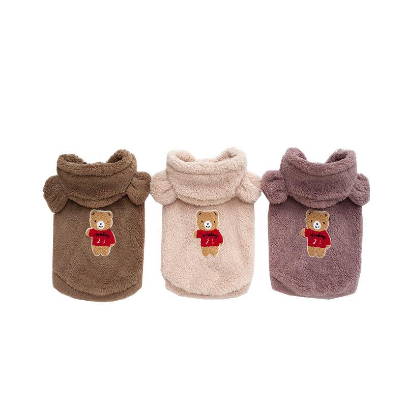 오버코트 개 옷 가을과 겨울 곰 조끼 패션 민소매 스웨터 따뜻한 귀 후드 애완 동물 액세서리 14hp p2