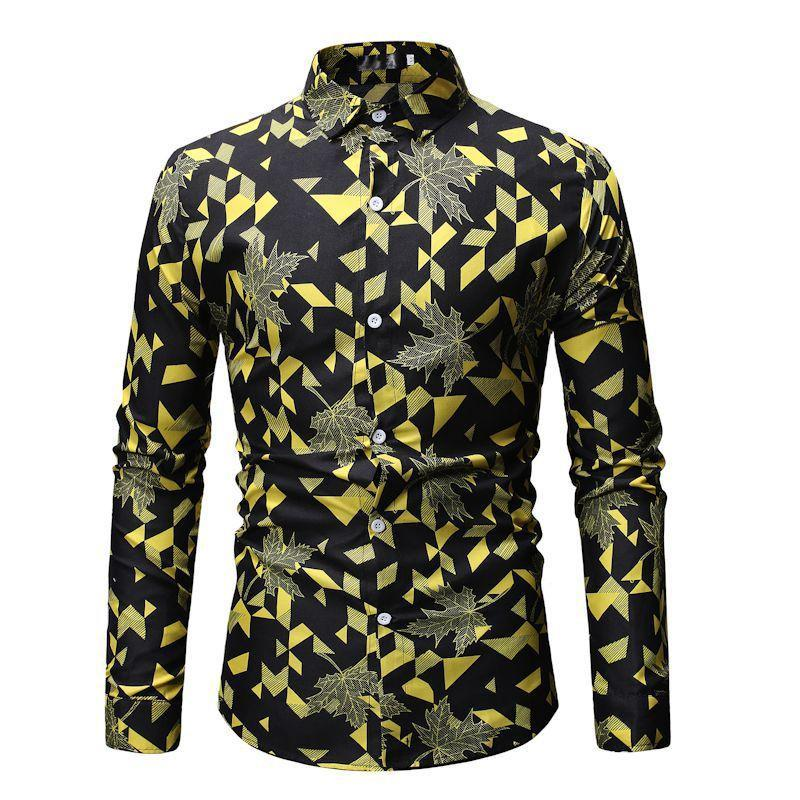 Men's Casual Shirts Pattern Wear Broken Flowers Trend Korean Edition Cultivate Oneself Thin Section Shirt Leisure Time Big Code Man