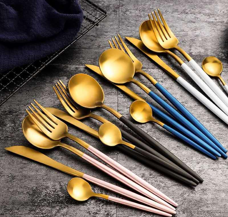 High Quality Restround Red Gold Black Tableware Cutlery Set Stainless Steel Knife Fork And Spoon Set Golden Color Knife Fork And Spoon jllbI