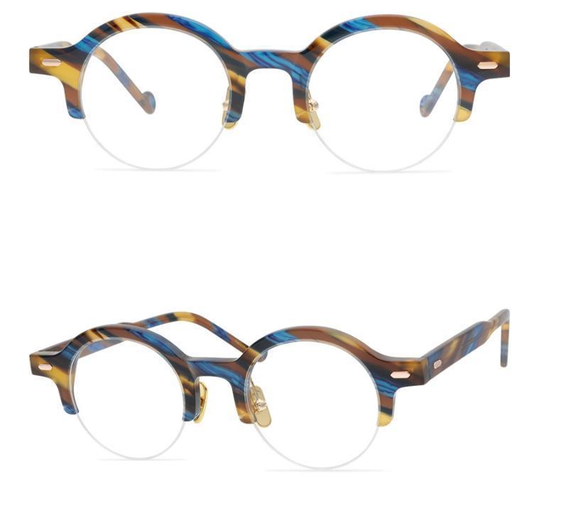 Óculos moldura homens Optical Glasses Frames Marca Mulheres Half armação dos óculos armações redondas Quadro Eyewear Miopia Vidros com Box