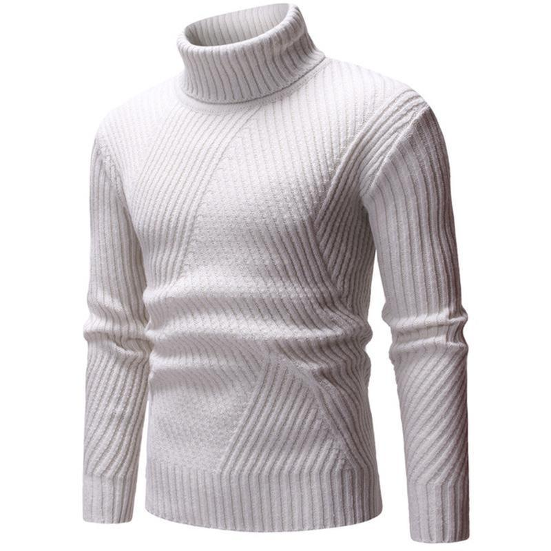 Camisolas masculinas Outono Inverno Moda Marca Roupa Quente Slim Fit Turtleneck pulôver de malha camisola homem cinzento branco cinzento preto