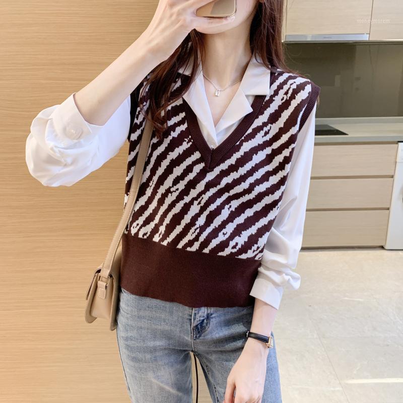Autunno e inverno nuove signore con scollo a V maglia West College Style Zebra Maglione Vest1