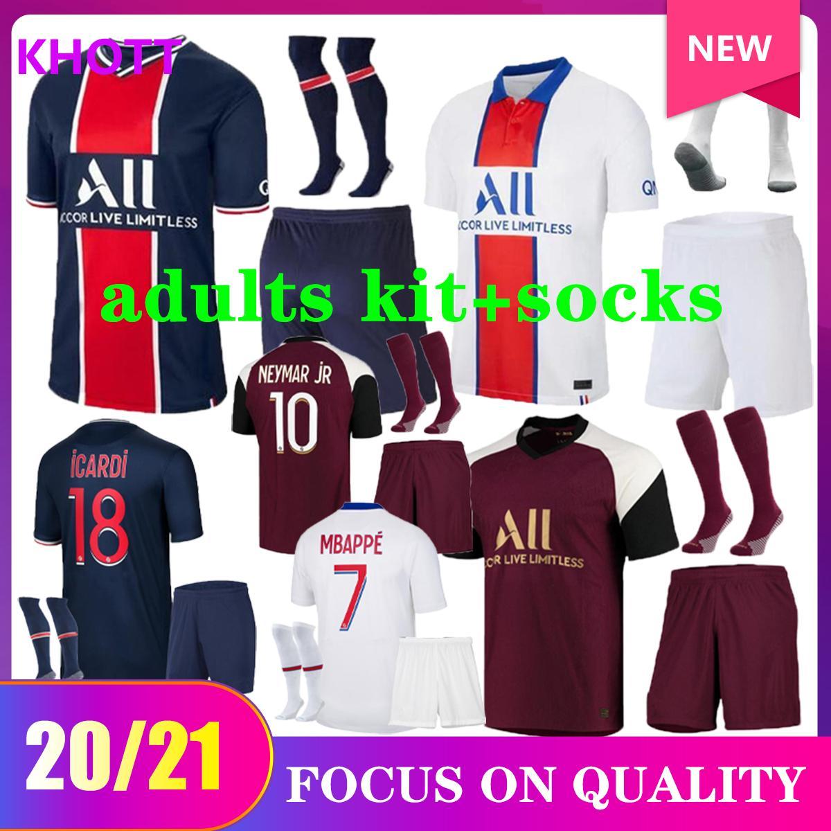 2020 2021 Paris Soccer Jersey Casa Away Kit adulti Set 20/21 Paris Mbappe Maillots de Foot Icardi Verratti Camicia da calcio Kit uniformi