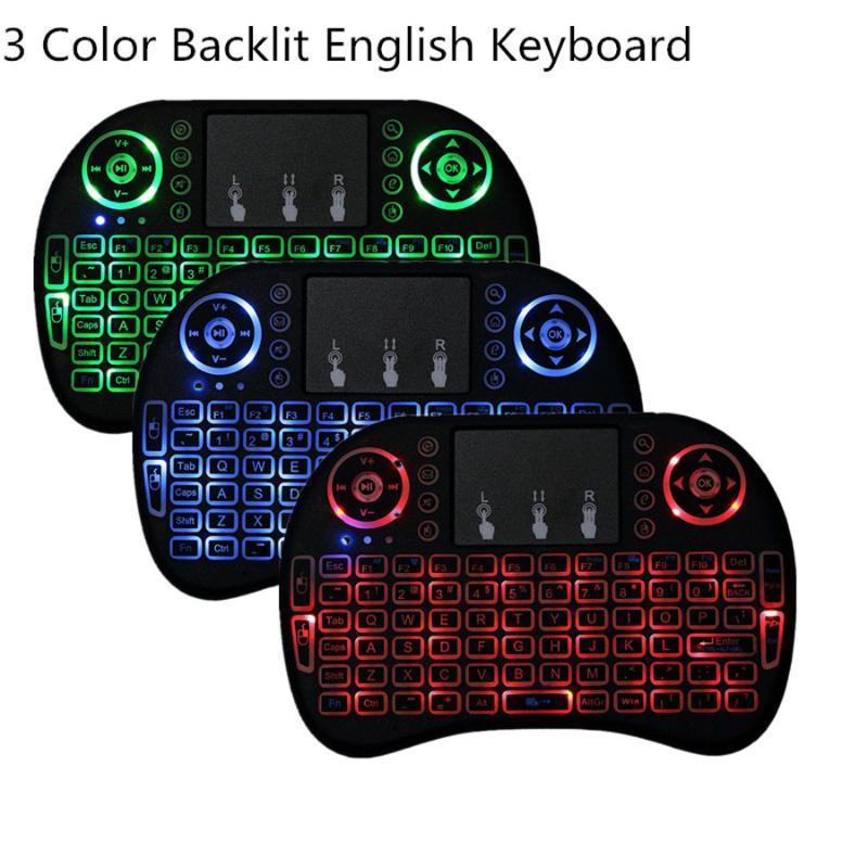 Tastiera di gioco senza fili del mouse dell'aria con touchpad della retroilluminazione per Xbox360 Smart TV Smartp Laptop Commercio all'ingrosso 100pcs / lotti