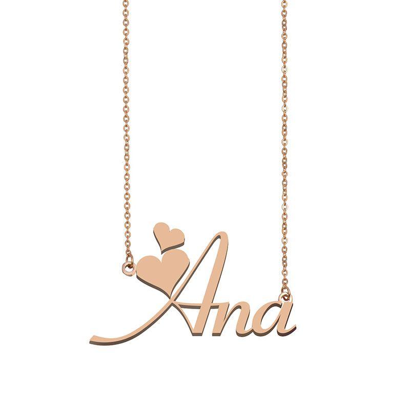 Ana Custom Name Halskette Personalisieren Anhänger für Männer Jungen Geburtstags-Geschenk Beste-Freunde-Schmucksachen 18k Gold überzogener Edelstahl