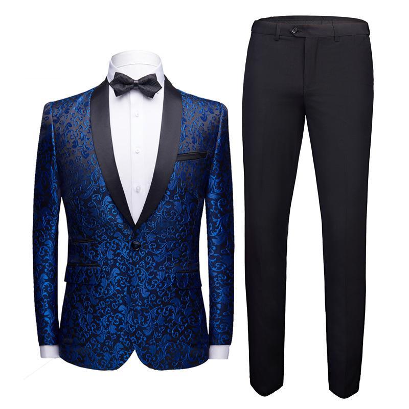 yushu 럭셔리 남자 자카드 웨딩 정장 목도리 옷깃 하나 버튼 정장 비즈니스 공식 재킷 턱시도 의상 옴므 모어 W1217