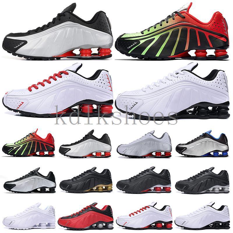 shox R4 deliver Nueva llegada DELIVER El calzado para correr R4 Hombres Mujeres Negro Oro Gris OZ 301 NZ zapatos de las zapatillas de deporte para hombre de entrenadores