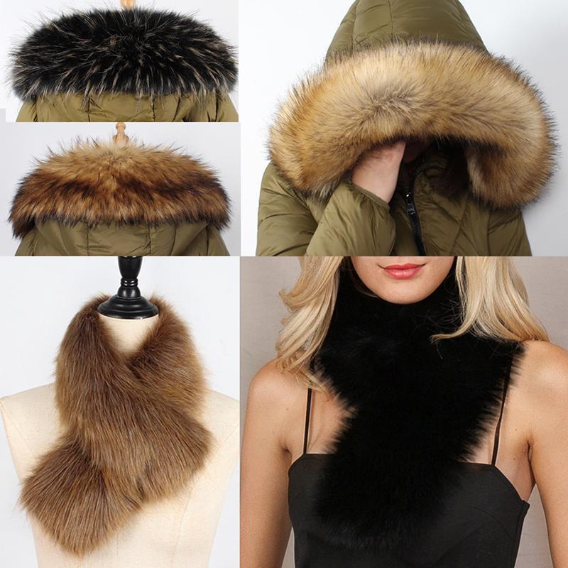 Sciarpa della pelliccia del Faux di modo delle donne 2020 Nuovo Inverno caldo ispessisce gli involucri del collo di lusso Fluffy scialle elegante elegante puro collare colore della pelliccia