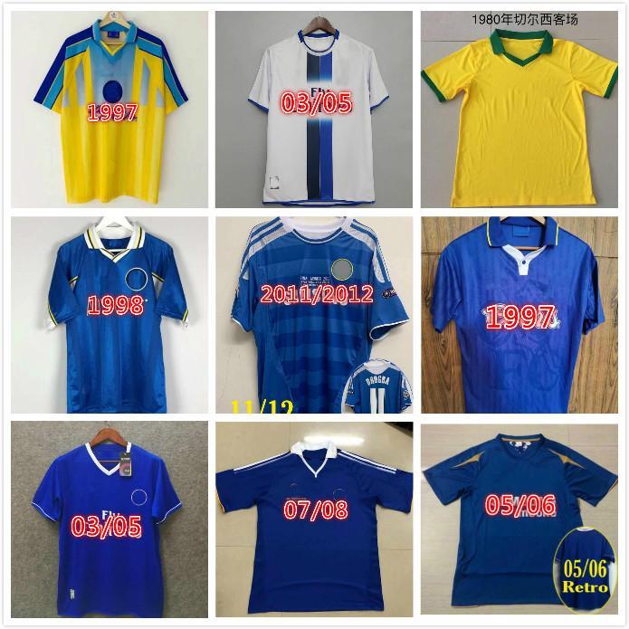 2011 Retro Soccer Jersey Lampard Torres Drogba 11 12 80 82 96 97 98 99 Camisetas de fútbol Camiseta Hughes 03 05 06 07 08 Cole Zola