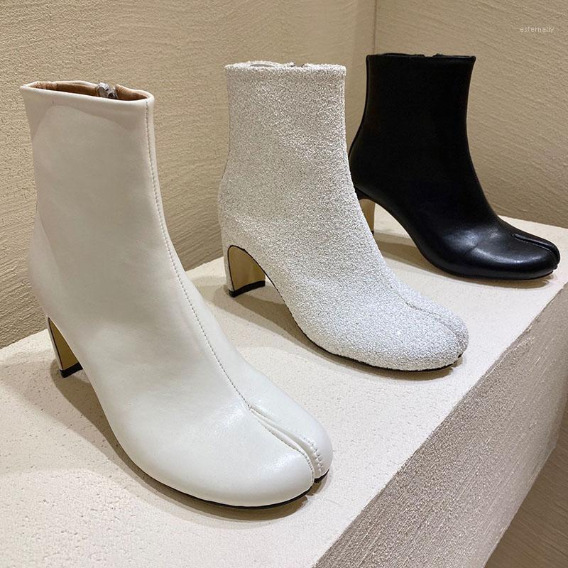 الأحذية الفاخرة سبليت تو النساء ستوكات جلدية ريباند أحذية قصيرة سستة بوتاس موهير 2021 كعوب غريبة تابي نينيا ركوب الأحذية 1