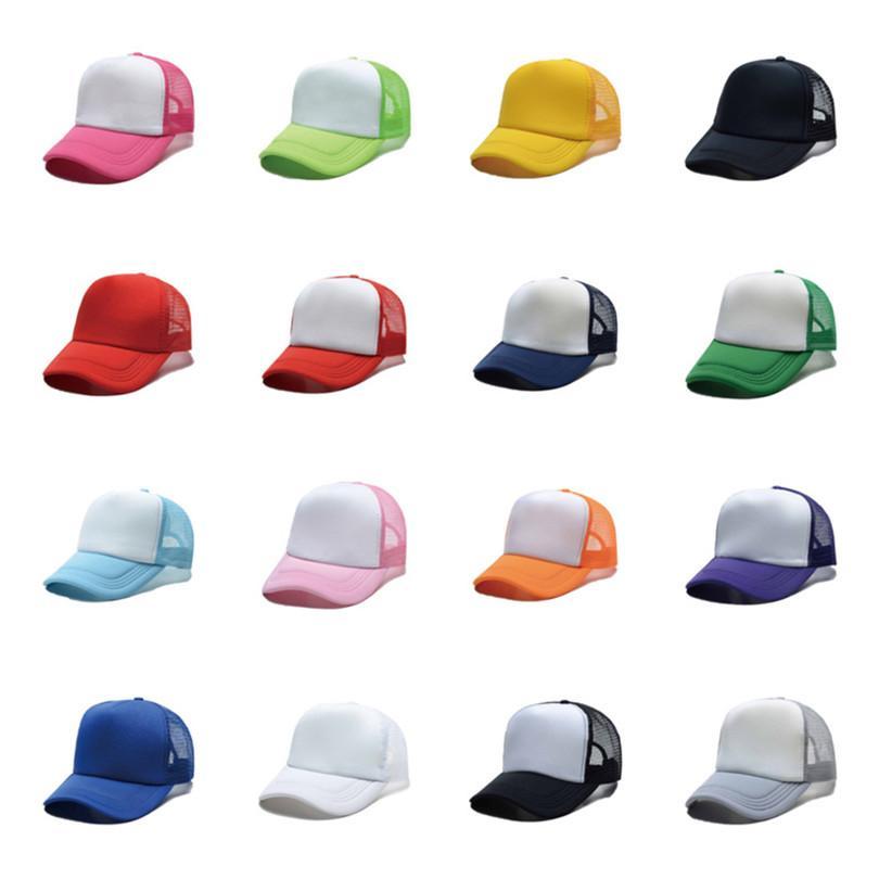 2021 Unisex Malha Tampão Tampão Summer Chapéus Personalizados Logotipo DIY Thermal Transfer Cap Adulto Crianças Sublimação Em Branco Colorido Presentes Venda G10607