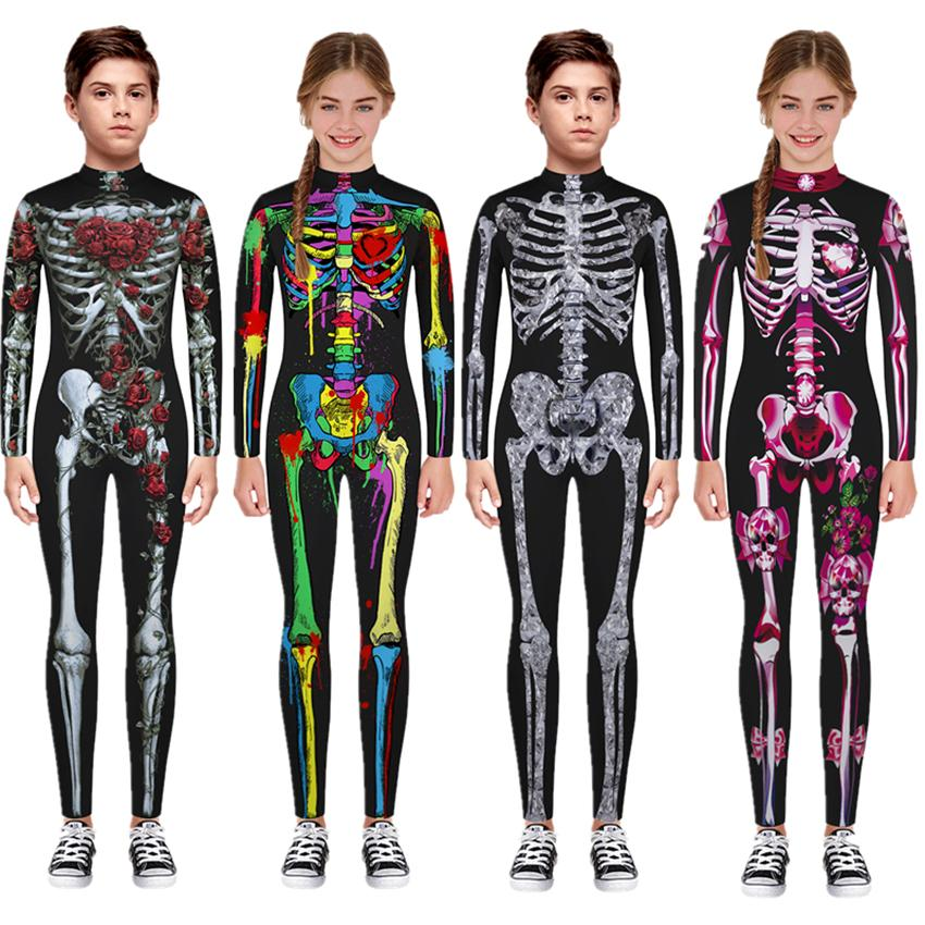 Nuovo Halloween Costumi Cosplay spaventoso per i bambini Skeleton Body Diavolo Vampiro Carnival Party Abbigliamento Skull vestito dalla tuta