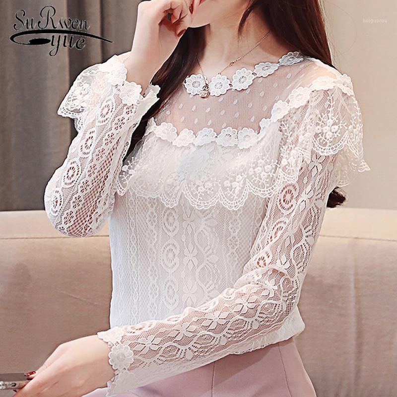 Mulheres tops e blusas sexy oco lace blusa camisa moda mulheres blusas 2019 manga longa babados lace camisas 2624 501