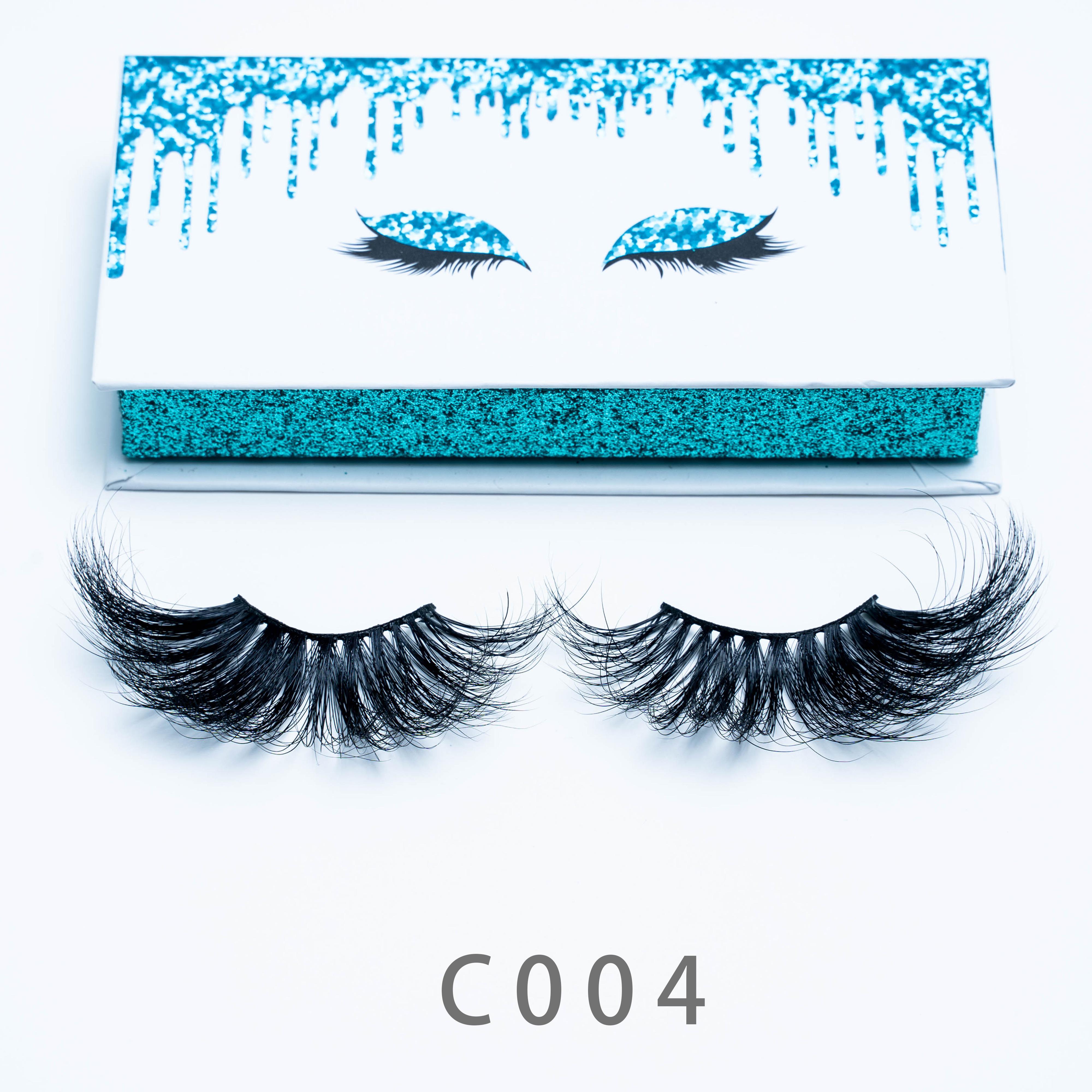 [Mink Falsche Wimpern-C004] Echte Nerzwimpern sind sehr schöne komfortable und schöne Wimpernverpackungen akzeptiert Anpassungen