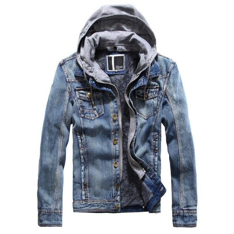 Мужские фирменные дизайнерские куртки флисовые джинсы куртка мужчины поддельные две части с капюшоном джинсовые пальто мода зима верхняя одежда JK-446