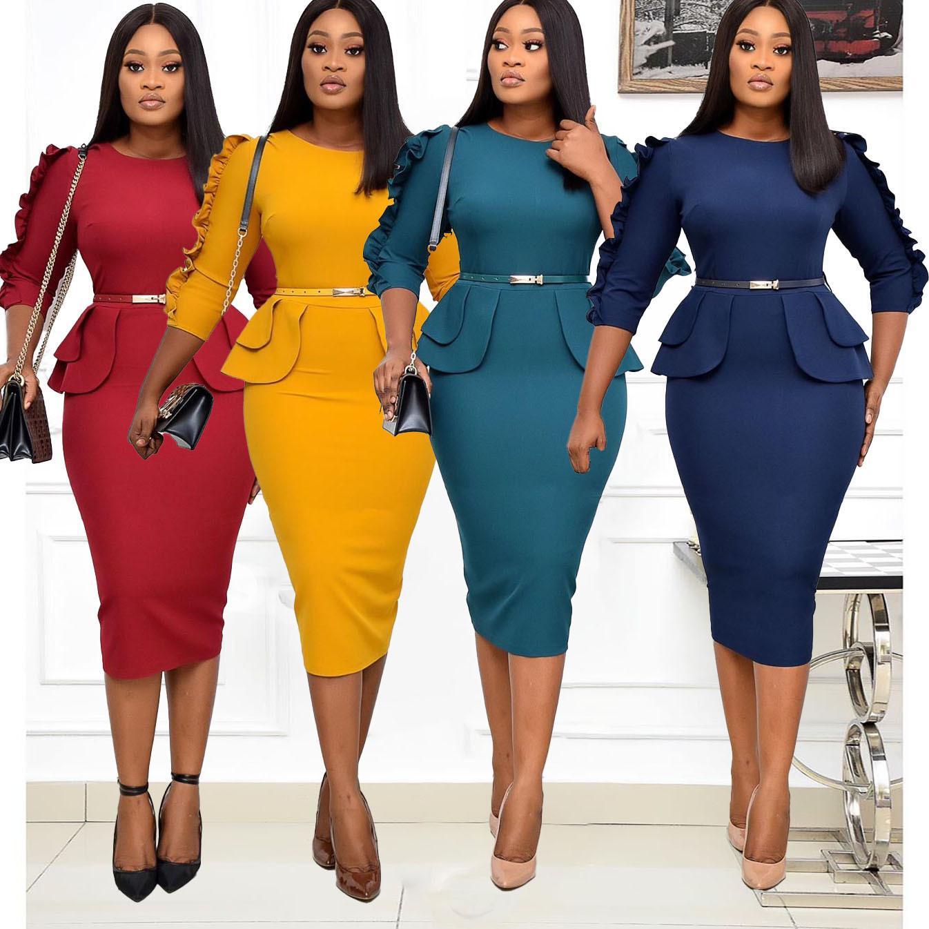 3XL Artı Boyutu Bahar Sonbahar Kadınlar Zarif Ofis Midi Elbiseler Bayanlar Bodycon O-Boyun Kadın Moda Seksi Çalışma Kalem Elbise J0125