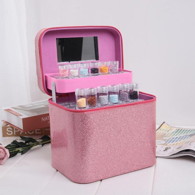 126 botellas Diamante Pintura Caja de almacenamiento Beads-impermeable y resistente al desgaste Anti-fricción Stitch de la puntada de la joyería