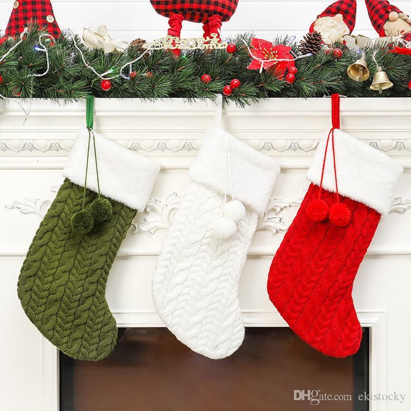 Calza di Natale a maglia bianca di lana verde Red Tree Ornamento lavorato a maglia Santa doni Borse Calza della Befana Hanging calzini OWF1703