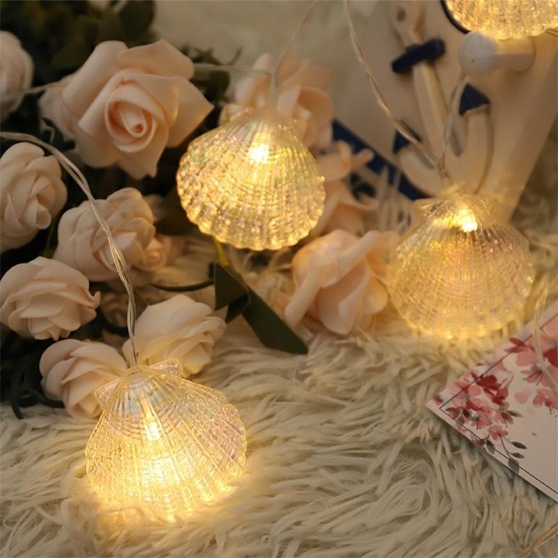 6m 40led Sea Shell String Fairy Light Handmade indoor Ghirlande di Natale all'aperto per la decorazione di festa del partito del giardino 201127