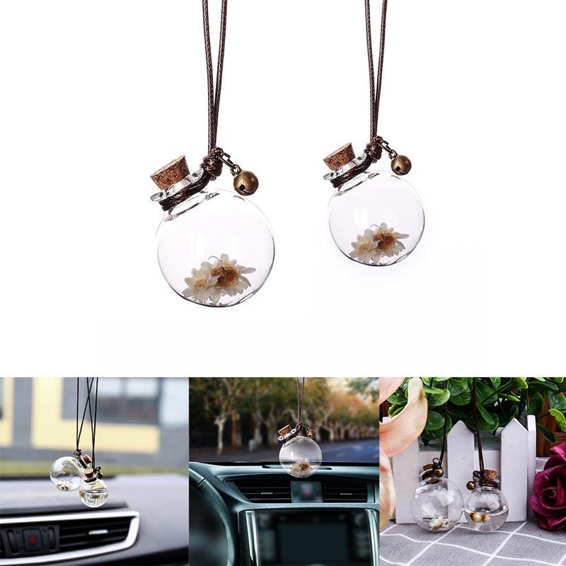 سيارة شنقا عطر قلادة العطر الهواء المعطر زجاجة زجاجية فارغة للزيوت الأساسية الناشر السيارات الحلي