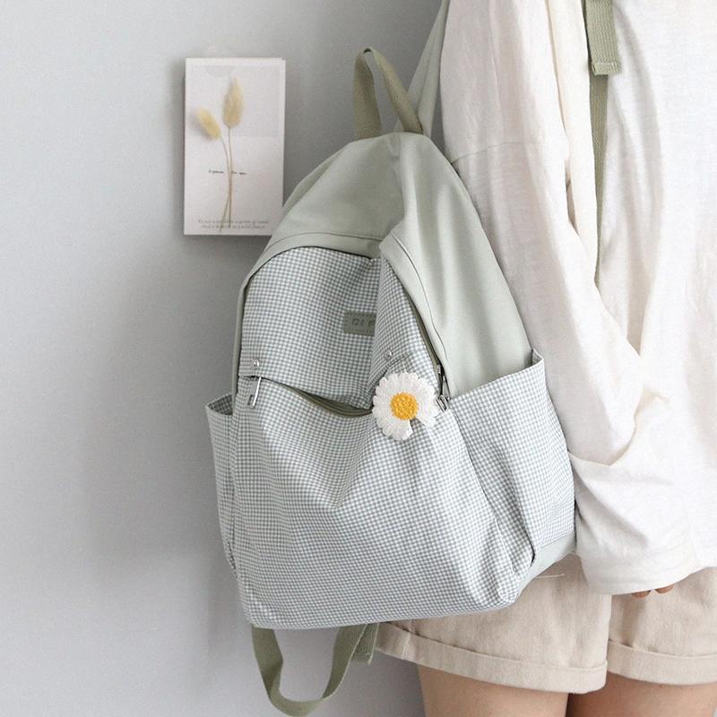 Belle Plaid Cartable pour les adolescents filles Harajuku Sac à dos Mignon Femmes Tissu Oxford Sacs à dos Voyage Femme Mochilas yrjK #
