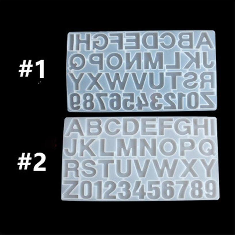 Pequeno molde de resina de silicone DIY para letra letra Molde do alfabeto Número de silicone Número Alfabeto Jóias Keychain Casting Mold