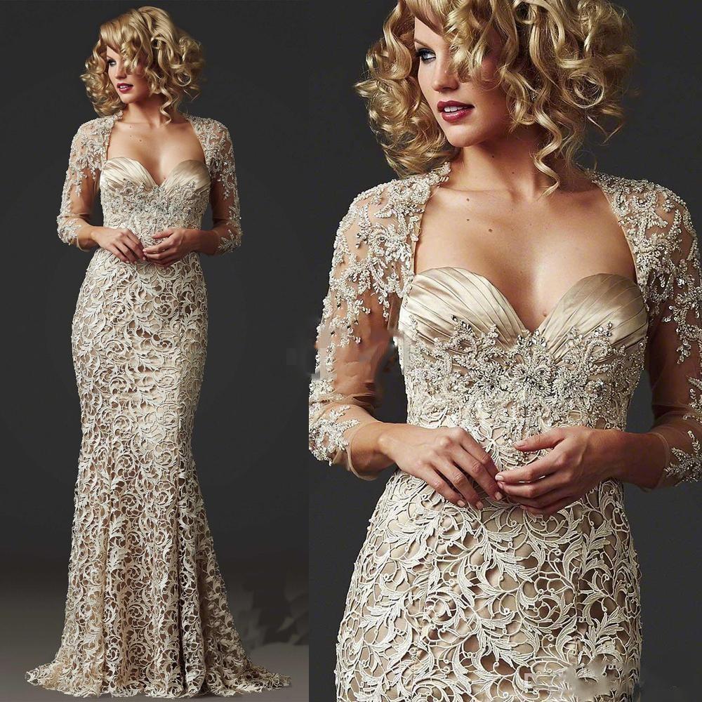 Custom Made Gelin Modelleri Uzun Kollu Örgün Champagne Abiye Giyim Kulübü Elbise elbiseler de soiree 2020 Vintage Tam Dantel Mermaid Anne