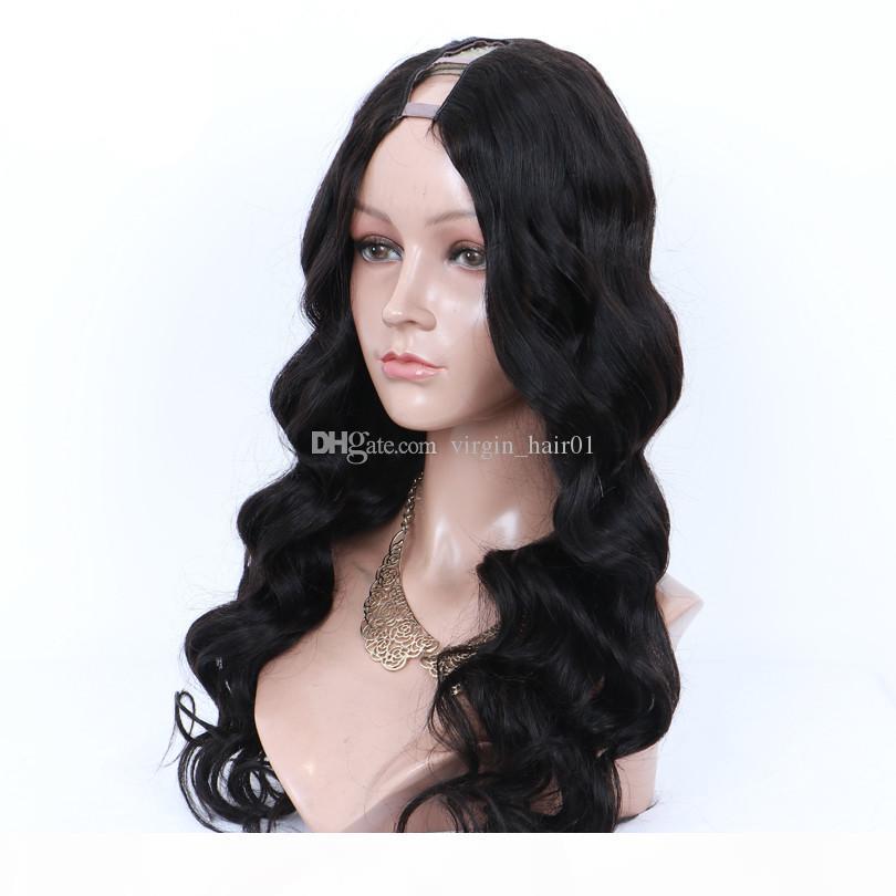 Тело волны U Часть человеческих волос парик 100% бразильские девственницы волосы натуральный цвет средняя открытая 1 * 3 дюйма размер парик средняя часть для женщин