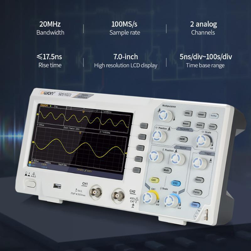 SDS1022 Цифровой запоминающий осциллограф Осциллограф 2-х канальный 20МГц 100MS / с осциллометр с ЖК-дисплеем Probe для осциллографа
