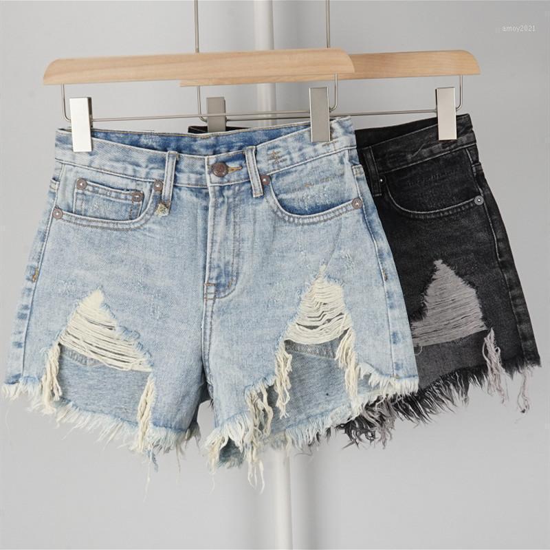 Женские джинсы с высокой талией женщин джинсовые шорты нерегулярные кисточка дыры мода весна летняя женская одежда1