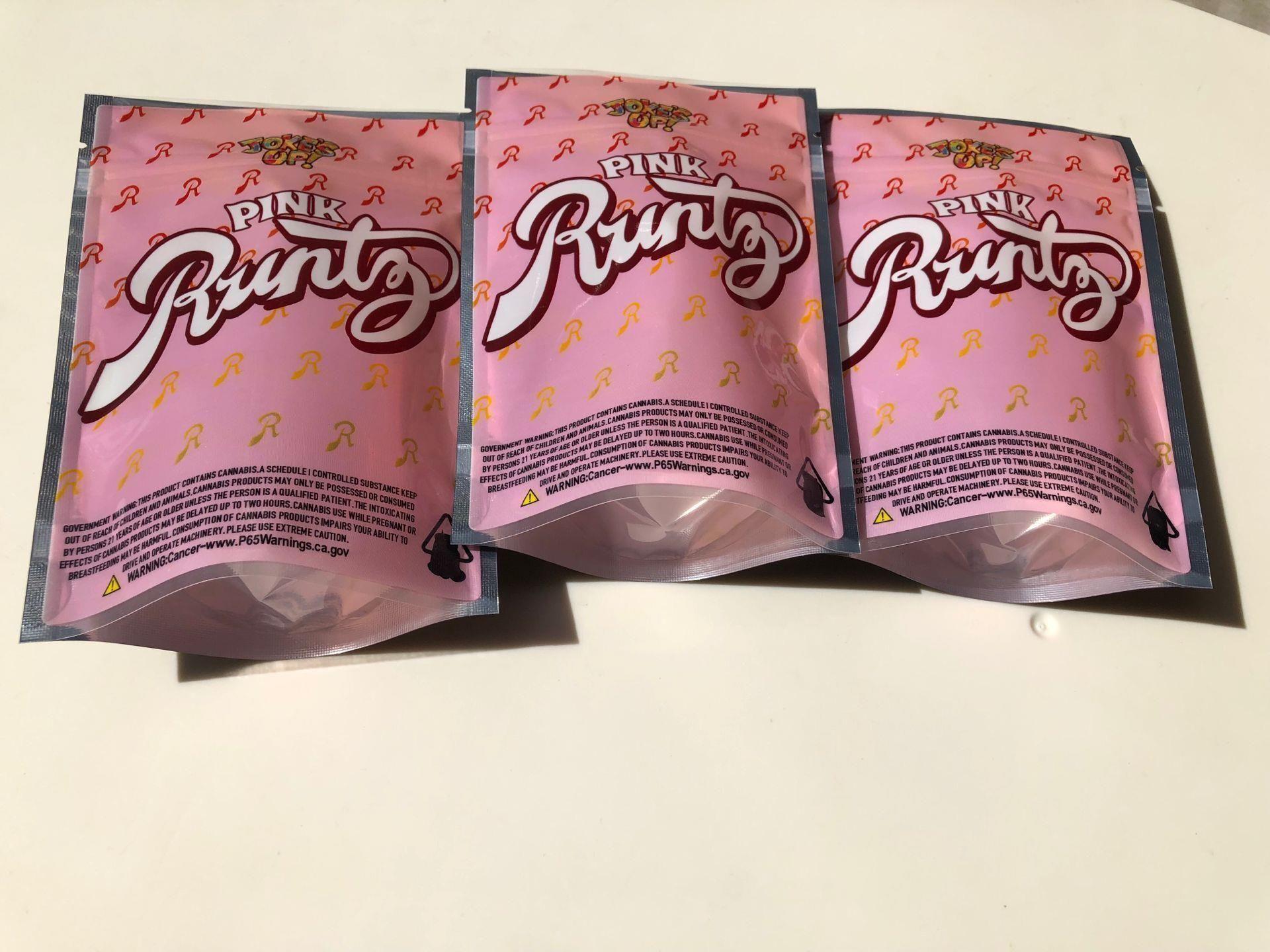 Сумка Runtz Pink Up Сумки Сумки Сумки Местные 3.5-7G Пустой запах Mylar Bdesports Wmtull Доказательство VKHMX
