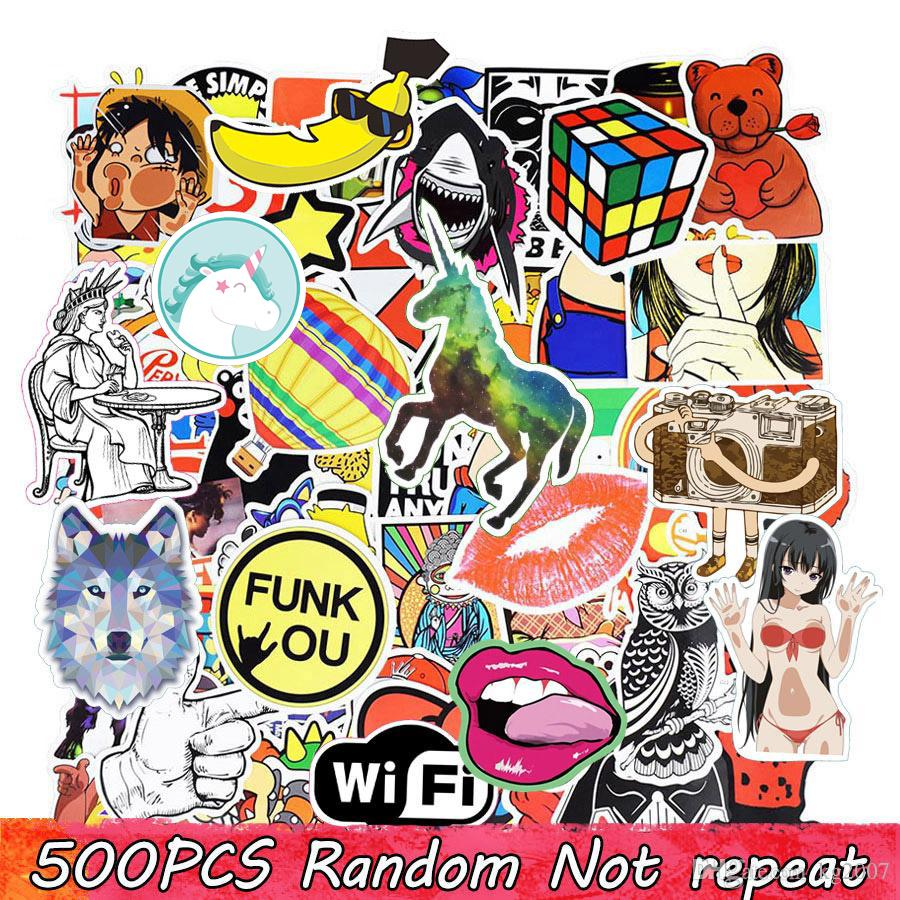 Diy stickers posters wall stickers for kids rooms home decor sticker on laptop skateboard luggage wall decals car sticker 500pcs