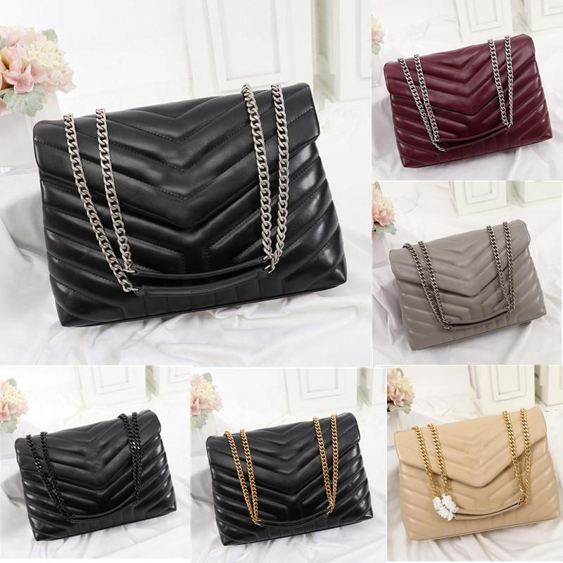 designer handbags square fat LOULOU chain bag real leather women's bag large-capacity shoulder bags high quality quilted messenger bag