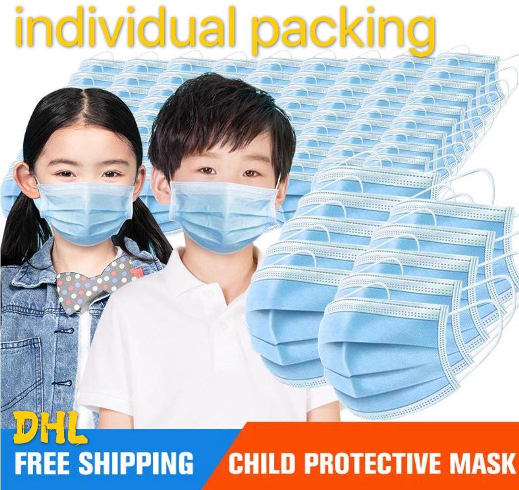 Детские маски 10 шт. / Пакет 3-15 лет Дизайнерская Мода Маска для лица Дети 3 Слои Одноразовые Маска Защитный ребенок Рот DHL 3--5дней Доставка