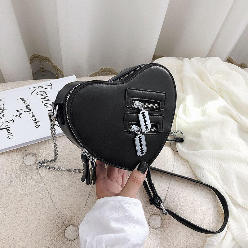 Heart Shape Crossbody For Women 2020 Fashion Chain PU Leather Shoulder Handbag High Quality Messenger Bag And Purses New Q1230