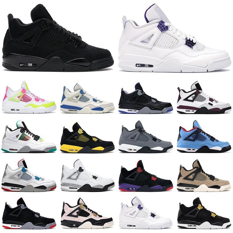 2020 sapatos de homens de basquete jumpman 4S do gato preto puro dinheiro Bred Cinza frio néon homens mulheres tênis ao ar livre esportes sapato da moda