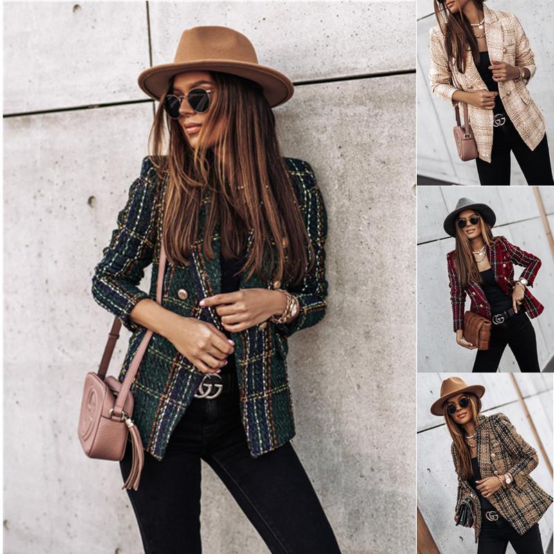 Kırmızı Ekose Blazer 2020 Kadınlar İlkbahar-Sonbahar Vintage ceketler Ofis İnce Bayan çift Breasted Blazers Büyük Boy 3XL Uzun kollu